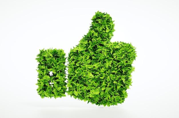 3d illustratie van eco vriendelijke duimen omhoog teken