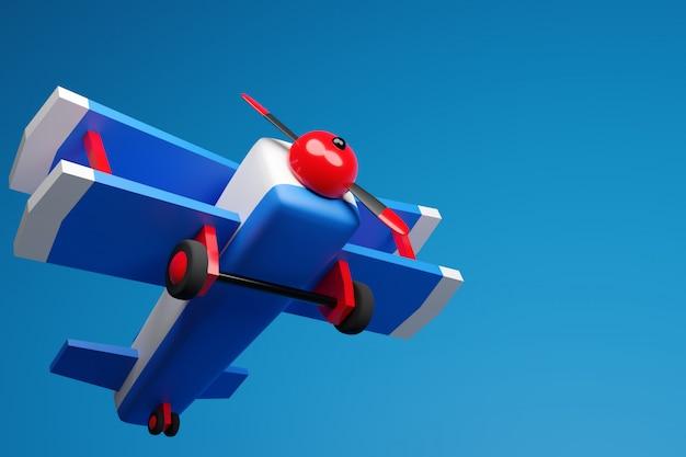 3d illustratie van een blauw-rood vliegtuig