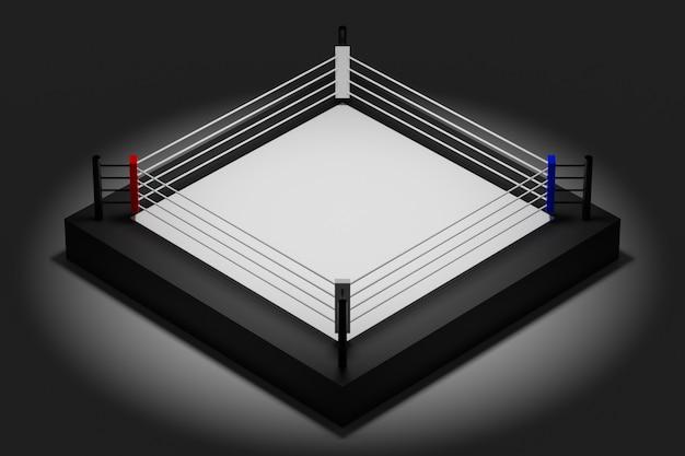 3d illustratie van een boksring voor het vechten op een zwarte achtergrond
