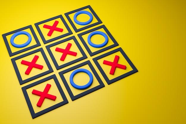 3d illustratie van een boter-kaas-en-eieren-spel zonder winnende kant in cartoonstijl op een gele achtergrond. spel en teken illustratie.