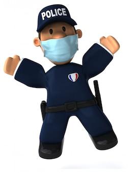 3d illustratie van een cartoon politieagent