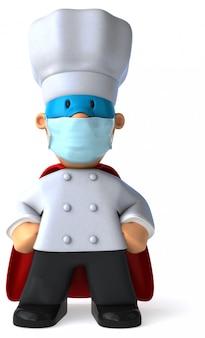 3d illustratie van een chef-kok met een masker