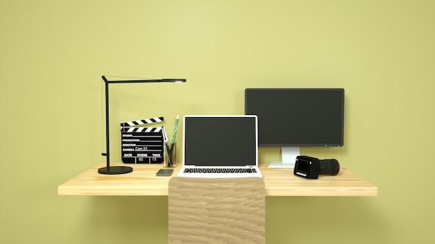 3d illustratie van een freelancer werkplekfotograaf, camera, laptop en lamp op tafel.