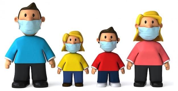 3d illustratie van een gezin met een masker