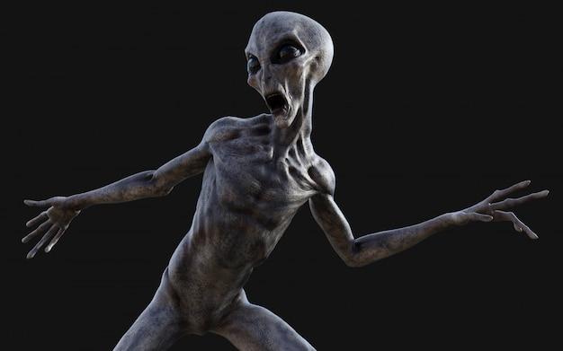 3d illustratie van een grijze alien op donkere achtergrond met uitknippad.