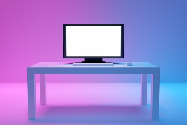 3d illustratie van een grote platte tv staat op een witte salontafel op een blauw-roze achtergrond.