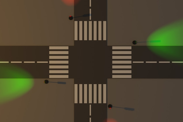 3d illustratie van een klein stedelijk stuk weg met een autoweg, een kruispunt en een markering, verkeerslicht.