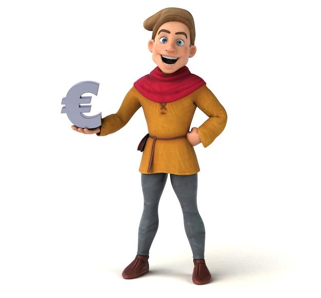 3d illustratie van een middeleeuws historisch karakter