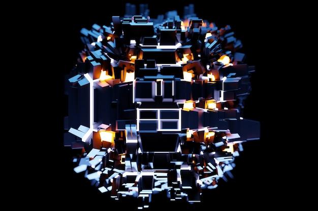 3d illustratie van een patroon in de vorm van metalen technologische beplating van een ruimteschip of een robot