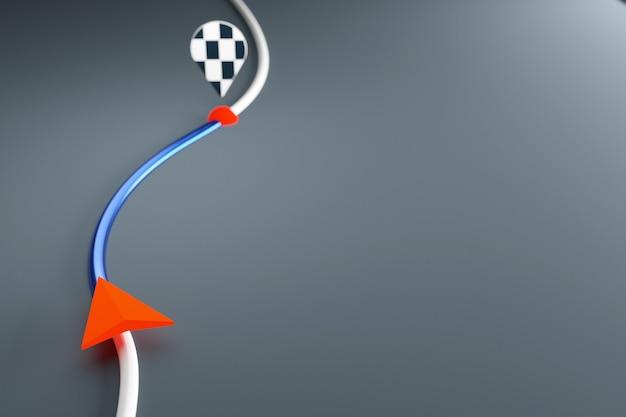 3d illustratie van een pictogram met de bewegingsrichting langs het traject met navigatiemarkeringen