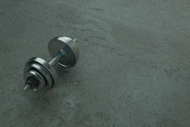 3d illustratie van een realistische metalen halter liggend op een grijze vloer object dumbbells