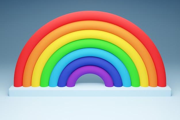 3d illustratie van een regenboog ronde boog op een grijze achtergrond.
