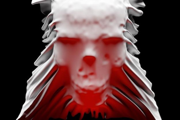 3d illustratie van een silhouet van een schedel met rood licht onder een witte doek op een zwarte achtergrond. schedel kunst. halloween concept.
