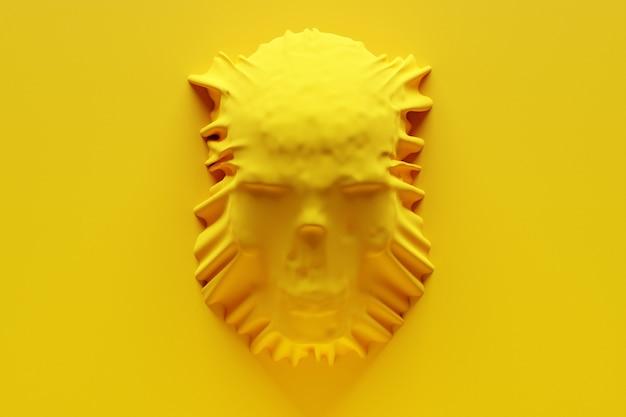 3d illustratie van een silhouet van een schedel onder een gele doek. schedel kunst. halloween concept.