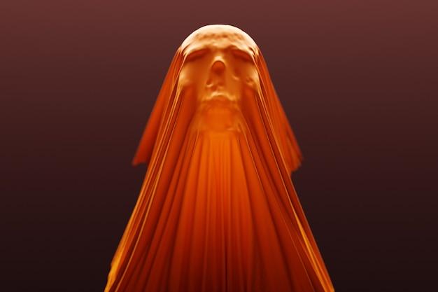 3d illustratie van een silhouet van een schedel onder een oranje doek op een donkere achtergrond. schedel kunst. halloween concept.