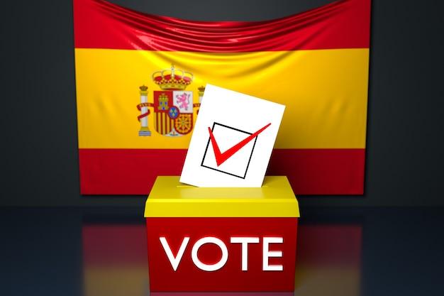 3d illustratie van een stembus met de nationale vlag van spanje in het oppervlak.