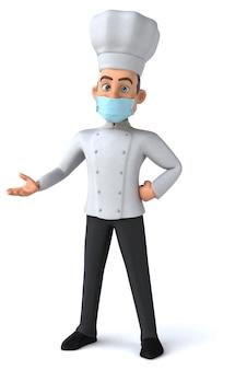 3d illustratie van een stripfiguur met een masker voor coronaviruspreventie