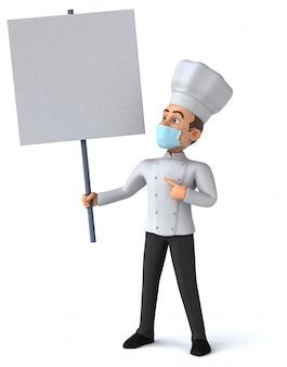 3d illustratie van een stripfiguur met een masker