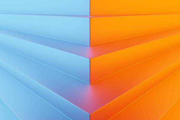 3d illustratie van een strook blauwe en oranje kleuren. geometrische strepen vergelijkbaar. abstract gloeiend patroon van kruisende lijnen