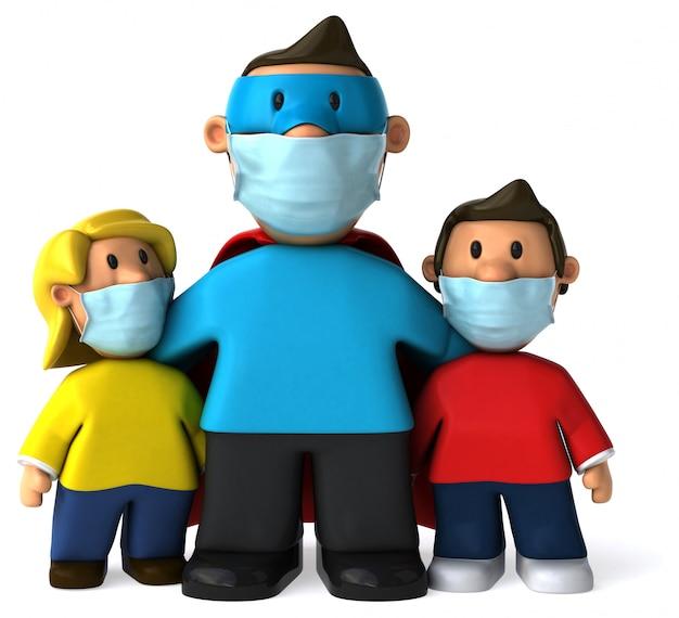 3d illustratie van een super vader met een masker