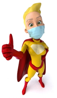 3d illustratie van een superheld met een masker voor coronaviruspreventie