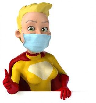3d illustratie van een superheld met een masker