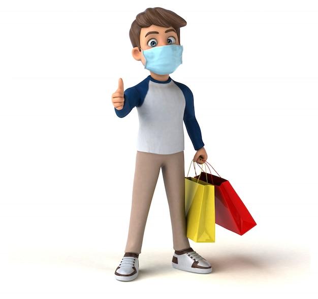 3d illustratie van een tiener met een masker