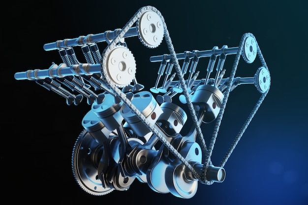 3d illustratie van een verbrandingsmotor. motoronderdelen, krukas, zuigers, brandstoftoevoersysteem. v6-motorzuigers met bewegende krukas. illustratie van motor van een auto binnen.
