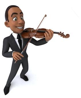 3d illustratie van een violist