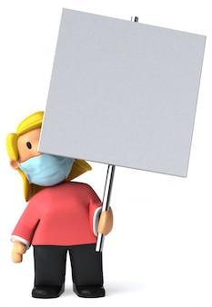 3d illustratie van een vrouw met een masker