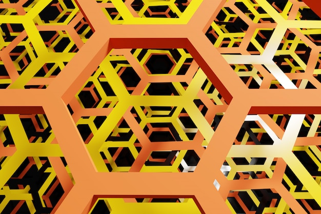 3d illustratie van een witte honingraat zwart-wit honingraat voor honing.