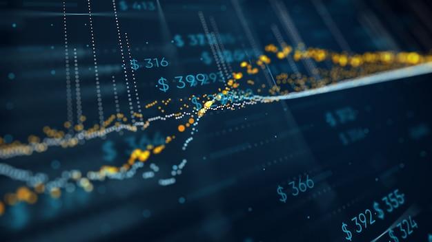 3d illustratie van financiële bedrijfsgrafiek met diagrammen en voorraadaantallen