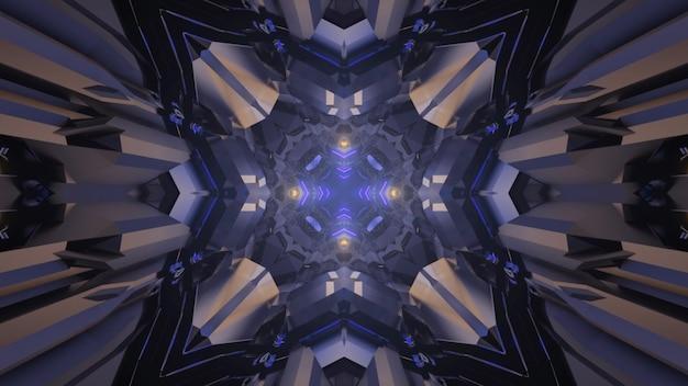 3d illustratie van futuristische eindeloze tunnel met grijze metalen elementen en blauw gevormd kruis