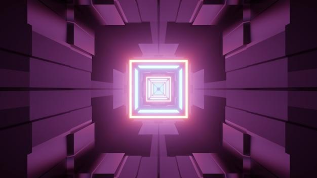 3d illustratie van gangperspectief met futuristische geometrische vormen en paarse muren
