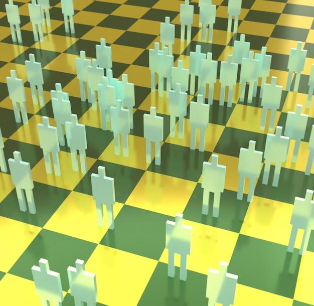 3d illustratie van gele mannelijke silhouetten op wazig groen en geel schaakbord
