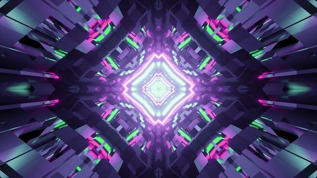 3d illustratie van geometrische caleidoscoop met kleurrijke neonlichten die in glanzend oppervlak nadenken