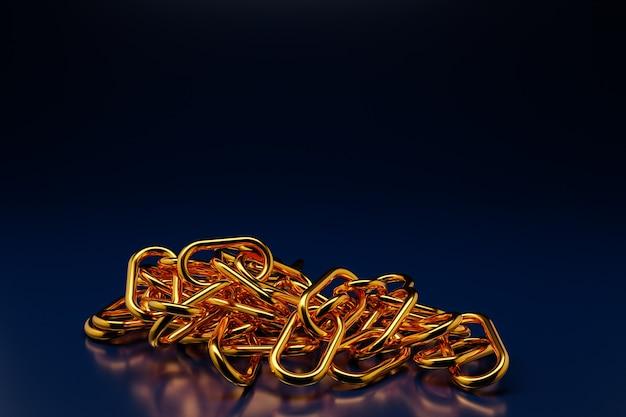 3d illustratie van gouden metaalkettingen. set kettingen op een zwarte achtergrond.