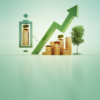 3d illustratie van gouden muntstukken met batterij en boom op groene achtergrond.