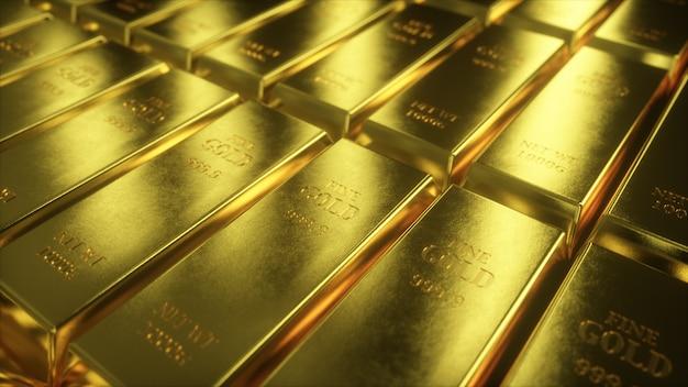 3d illustratie van goudstaven