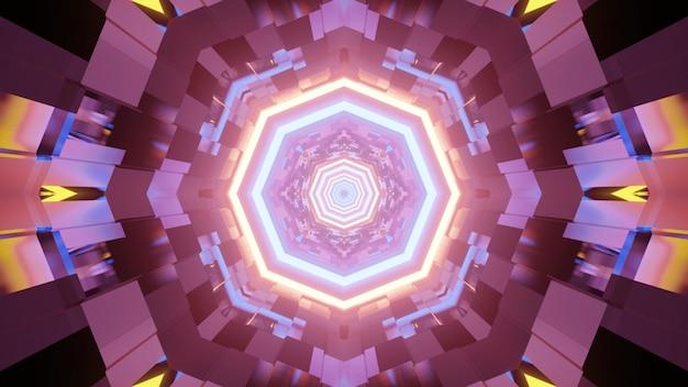 3d illustratie van grafisch abstract caleidoscooppatroon met kleurrijke neonlichten die in donkere tunnel gloeien