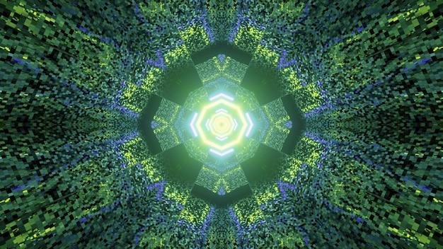 3d illustratie van grafisch mozaïekpatroon met abstract caleidoscoopornament dat met neonlichten wordt verfraaid