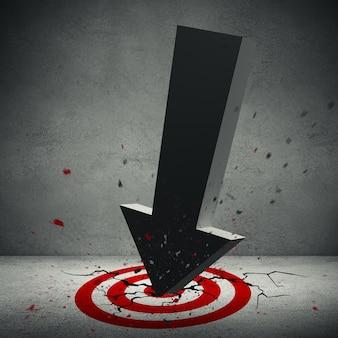 3d illustratie van grote volumetrische pijl verpletterde in het rode doel op de vloer.