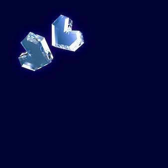 3d illustratie van harten op blauw