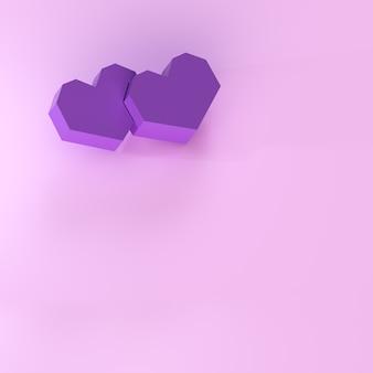 3d illustratie van harten op roze