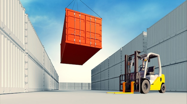 3d illustratie van heftruck met containers