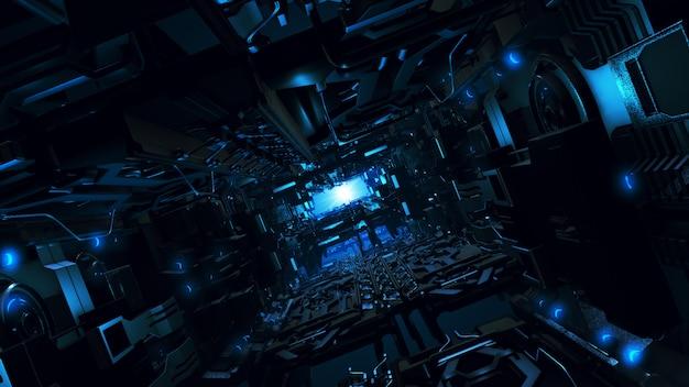 3d illustratie van het futuristische binnenland van het ontwerpruimteschip