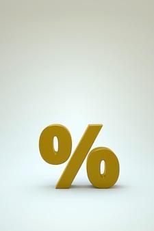 3d illustratie van het gouden percentage op een witte geïsoleerde achtergrond. gouden 3d-percentagepictogram op een witte achtergrond. voorwerp van het gouden pictogram. 3d-graphics