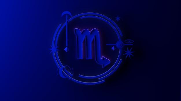 3d illustratie van het sterrenbeeld schorpioen op donkere achtergrond. horoscoop. tarot.