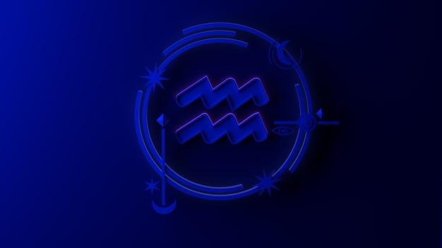 3d illustratie van het sterrenbeeld waterman op donkere achtergrond. horoscoop. tarot.