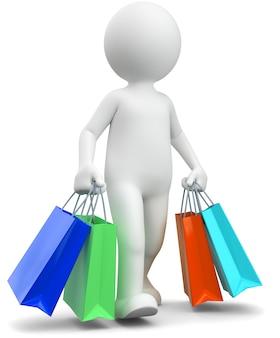 3d illustratie van het witte mannelijke winkelen